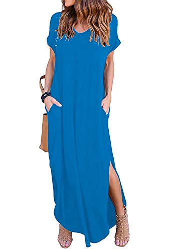 Pocket Dress - Women's Short Sleeve V Neck Pocket Casual Side Split Beach Long Maxi Dress (Acid Blue, Large)