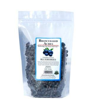 Unsweetened Dried Blueberries by Brownwood Acres - No Added Sugars, Oils or fillers - Just Blueberries! (1 Pound)