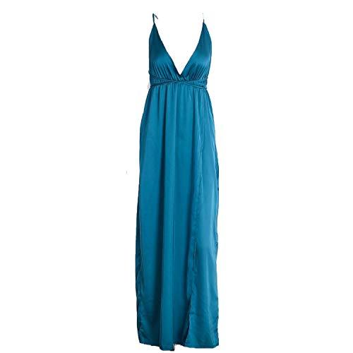 Slip Satin Backless Long Pajamas Evening Party Black Maxi Dresses Vestidos,Green,L -