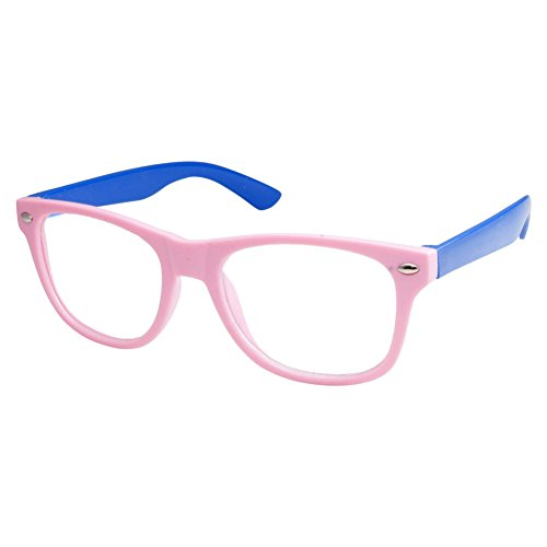 Kids Nerd Retro Two Color Frame Clear Lens Childrens Fake Eye Glasses (Age 3-10) Pink/Blue