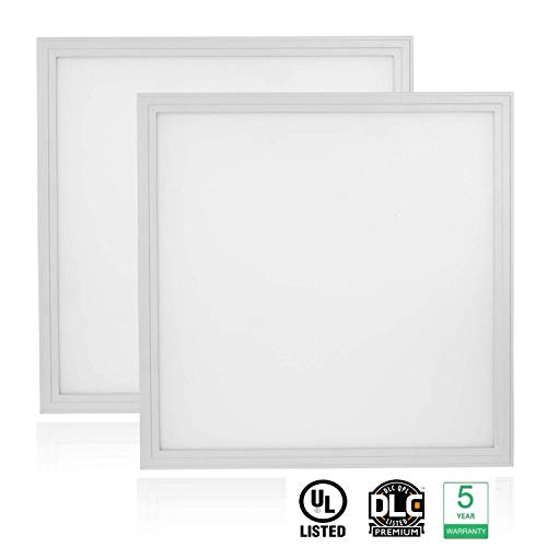 Cortelco LED Panel Light, Troffer Drop Ceiling Flat Panel Light 2x2FT, Dimmable 0-10V Edge-Lit Light Fixture, 36W, 4680Lumens, 5000K, DLC&UL Listed, 2 Pack (Best Lights For Drop Ceiling)