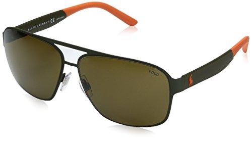 Polo Ralph Lauren Men's Metal Man Square Sunglasses, Rubber Olive, 62 mm