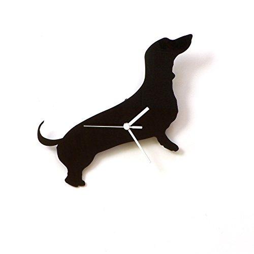 Dachshund dog - black acrylic wall clock, a piece of wall art, animal (Dachshund Clock)