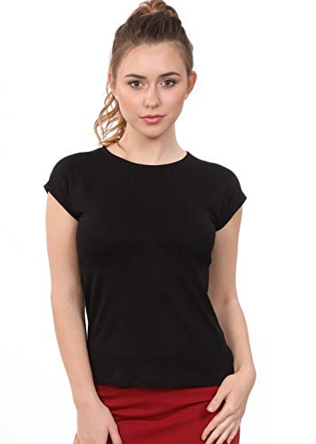 (Kosher Casual Women's Modest Cap Sleeve Crew Neck Undershirt - Layering Tee XL Black)