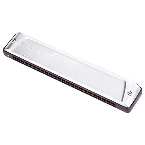 24 Holes Harmonica, PS-2420 Key of D Professional 24-Hole Tremolo Harmonica East Asia Style D Major Harmonica with Box and Cleaning Cloth