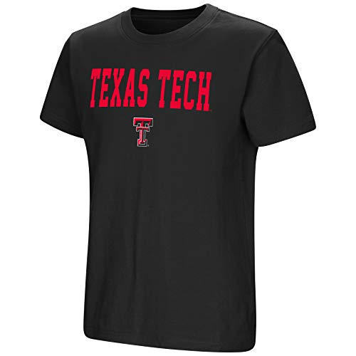 (Colosseum NCAA Youth Boys-Talk The Talk-Cotton T-Shirt-Texas Tech Red Raiders-Black-Youth Large)