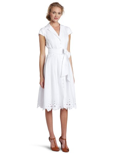 Jones New York Women's Eyelet Hem Shirt Dress