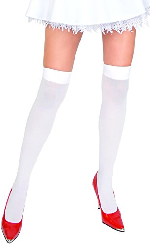 Wednesday Adams Halloween Costumes (Adult White Thigh Highs - One Size)