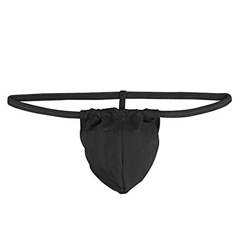 Men Black Sexy Underwear Elastic G-String Thongs with Bulge Pouch One Pack