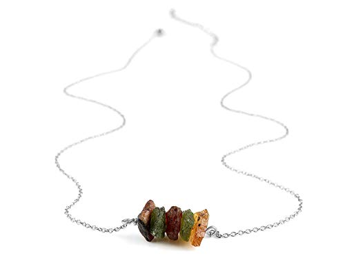 925 Sterling Silver Natural Raw Multi Color Tourmaline Chips Slices Handmade Neckalce Women Penadnt - Color Necklace Tourmaline Multi
