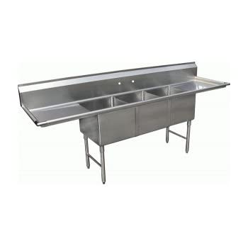 compartment sink manufacturer this item drain boards stainless steel silver 3