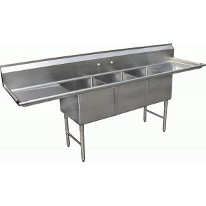 Allstrong ALLST-SE18183D 3 Compartment Sink with 18'' Drain Boards, 18'' x 18'' x 12'', Stainless Steel Silver by Allstrong