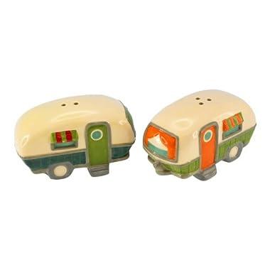 Camping Trip Weekend Getaway Campers RV Ceramic Salt and Pepper Shaker Set