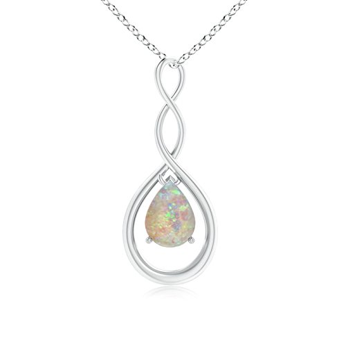 Pear Shaped Natural Opal Infinity Loop Pendant Necklace for Women October Birthstone