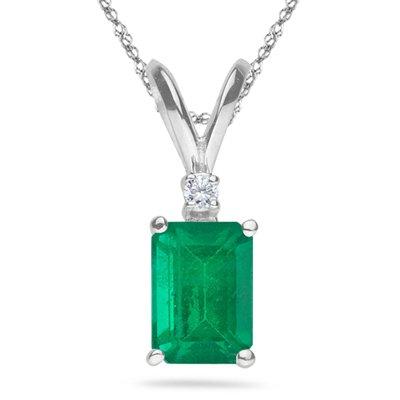 0.02 Cts Diamond & 0.45 Cts of 6x4 mm AA Emerald Cut Natural Emerald Pendant in 14K White Gold (Emerald Diamond Pendant Aa 14k)