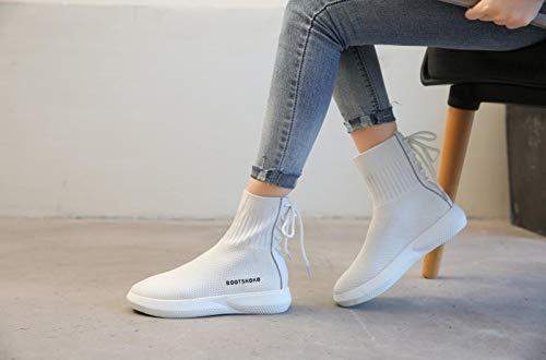 Style Botas Otoño Zapatillas Wild Bottomed Thick Cortas High Botas blanco Efficiency Cortas Laces Zapatillas Punto Lucdespo Casual Femeninas zwOYOq