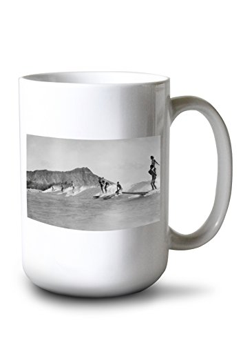 - Lantern Press Honolulu, Hawaii - Surfers Off Waikiki Beach - Vintage Photograph (15oz White Ceramic Mug)