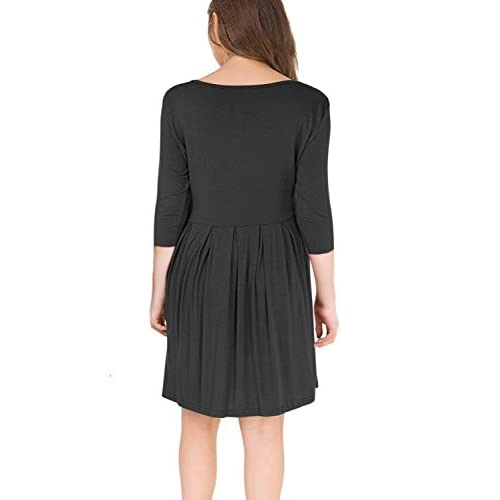 44417b1ea4fa1 I2crazy Women s Casual Pleated Loose Swing T-Shirt Dress with Pockets Knee  Length(3