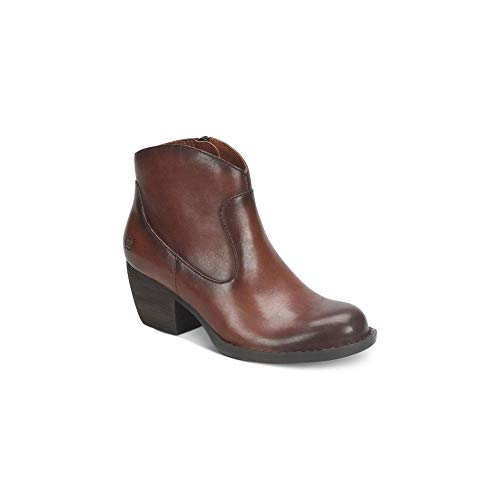 Born Womens Carmel Leather Closed Toe Ankle Fashion Boots, Brown, Size ()