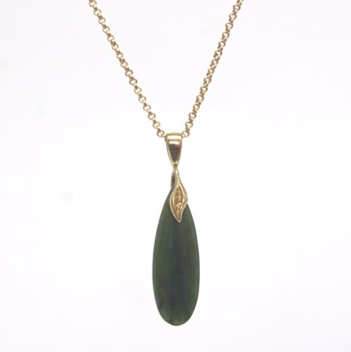 Flat Pear Nephrite(Jade) Gemstone Pendant Necklace - Gold Tone Dainty Double Rolo Chain, 1.75 & 16-in - Hamilton Gemstone Necklace