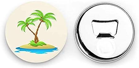 Abrebotellas redondos de palmera 3d / Imanes de nevera Sacacorchos de acero inoxidable Etiqueta magnética 2 piezas