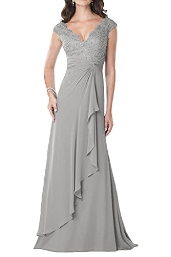 MaliaDress Women's V Neck Straps Mother Of Bride Dress Gown M234LF Silver US10