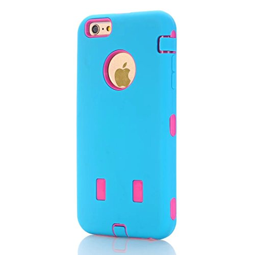 "iPhone 6S Plus Coque,iPhone 6 Plus Coque,Lantier Heavy Duty double couche tactile antichoc couverture souple de protection avec disque PC interne pour Apple iPhone 6 Plus/6S plus 5.5 ""Sky-blue + Hot P"