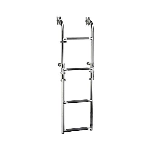 Five Oceans Marine Boat Foldable 4-Steps Ladder Stern Mount w/Rubber Grips, Stanless Steel FO-3529