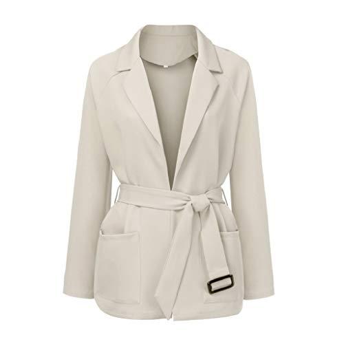 Creazrise Women's Open Front Long Sleeve Raw Cut Hem Lapel Collar Trench Coat Cardigan with Belt (Beige,4XL) from Creazrise Womens Coat