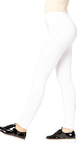 Slim Spandex Leggings - Premium Cotton Spandex Jersey Leggings - High Waist Yoga Waistband - 10 Colors - 6 Sizes (White, X-Large)