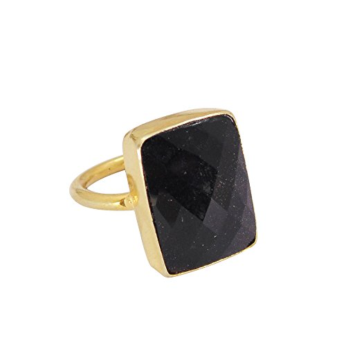 18K Yellow Gold Vermeil Faceted Black Onyx Gemstone Stacking Ring For Woman Onyx Vermeil Ring