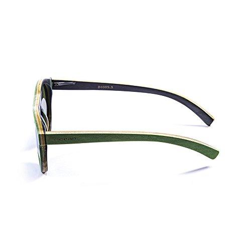 Ocean Sunglasses FijiLunettes de Soleil Mixte Adulte, Skate Wood Green Frame/Revo Green Lens