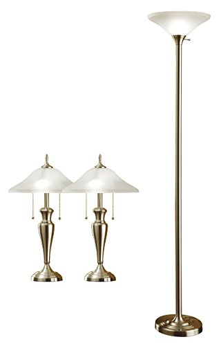 (Artiva USA Triple-Pack, Classic Cordinates, 71-Inch Torchiere and 24-Inch Table Lamps Set in Brushed Steel Finish Hammered Glass Shades)
