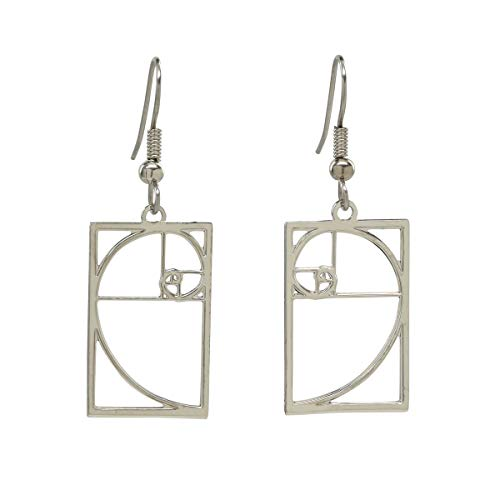 Rhodium Plated Earrings Brass - Boutique Academia Fibonacci Spiral Golden Rectangle Earrings Science and Math Jewelry Gift (Rhodium-Plated-Brass)