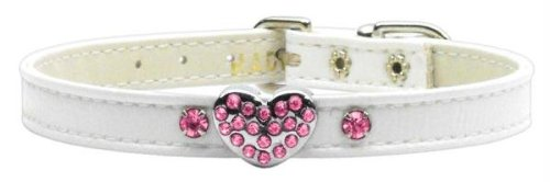 Mirage Pet Products 1 and 3 Heart White Pet Collars with Pink Hearts, 1 Heart, Size 14