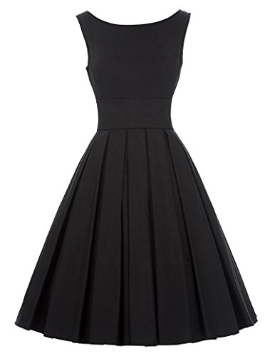 Sleeveless Summer Dress Cocktail 50s Dress BP091 Black(L) - Black Dinner Dress