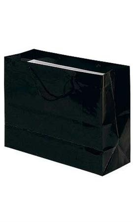 "Case of 100, Gift Wrap, Gift Bags, Large Black Glossy Euro Tote Bag, 16"" X 6"" X 12""• Great Choice for Gift Bags, Small Home Décor and Party Favors. These Attractive Laminated Paper Shopping Bags Feature Soft, Black Rope Handles to Make It Easy on Customers Carrying Their Purchases Home. Our Euro-tote Shopping Bags Are Also Tear Resistant, Feature a Gusset, and Fold Flat for Easy Storage."