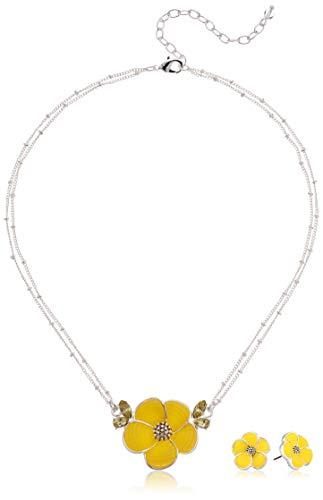 Napier Women's Silver/Yellow 16 inch Flower Pendant Stud Earrings Set