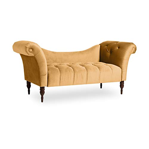 Cheap Skyline Furniture Custom Settee in Linen Linen French Yellow