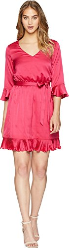 Bebe Satin (bebe Women's Blouson Dress w/Pleats Berry 8)
