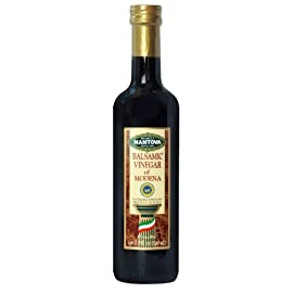 Mantova balsamic vinegar of modena, perfect for salad dressing, pasta, ice cream and cocktails, 17 oz (pack of 4) 1 mantova balsamic vinegar of modena is imported from modena, italy, home to the finest quality balsamic vinegar full-bodied texture, rich color with an acidity level of 6%; traditional balsamic vinegar flavor, tart with an underlying sweetness reasonably priced for everyday use in salad dressing, marinade, vinaigrette, and other sauces