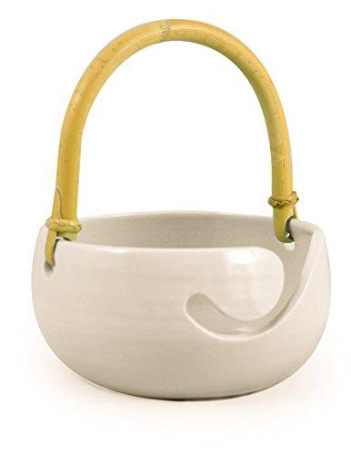 American-Made Ceramic Stoneware Knitting Bowl with Bamboo Handle (Daisy White)