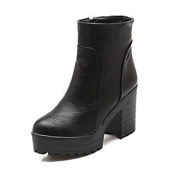 Desy mujeres botas botas de moda del invierno Piel sintética Casual vestido cremallera Chunky talón negro