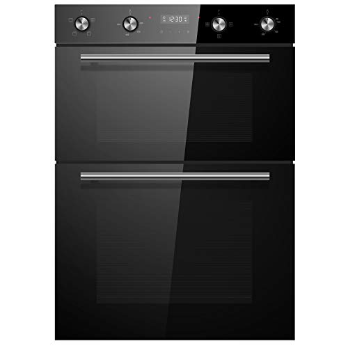 Cookology CDO900BK 60cm Black Glass Built-in Electric Double Oven & timer