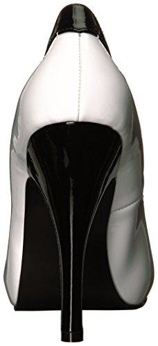 bomba de la plataforma de acabado espectador Eva-07 con detalles tallados blanco / negro - (UE 40 = US 10) - Pleaser Pink Label