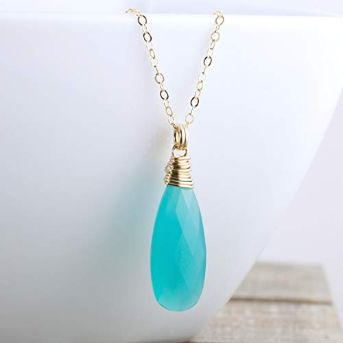 Aqua Blue Chalcedony Quartz Pendant Necklace Gold Filled Jewelry Gift For Women - 18