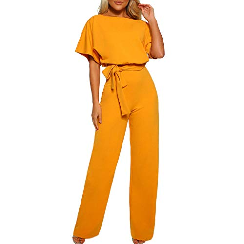 - ZQISHMAO Women Elegant Playsuit Summer Short Sleeves Party Wide Leg Jumpsuit Romper with Belt (Yellow, XXXL)