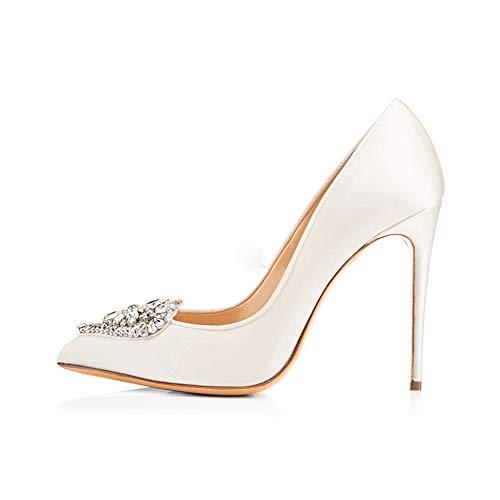 Dames Chaussures Banquet En Mariée Brillant Pointé White Soirée Forme Hauteur Mariage Simples Du Forme Coeur Chaussures Stiletto Talon Strass 12Cm Attache De Plate De Étanche rqfAwra
