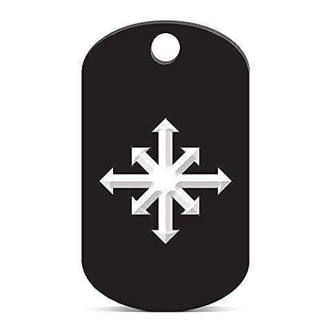 Chaos Symbol Keychain GI Dog Tag engraved v1 Black - Cha Chains