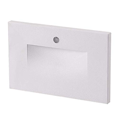 Cloudy Bay LED Step Light with Auto On Off Photocell,3000K Warm White,Stair Light,White Finish